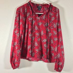 New TIMING  red floral blouse